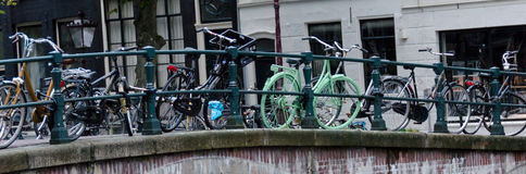 Not all bikes are black in Amsterdam Stock Photography