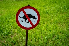 Not allow dog feces sign. In the park Royalty Free Stock Image