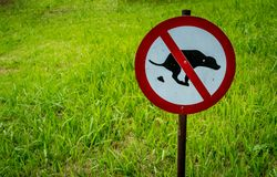Not allow dog feces sign. In the park Stock Photos