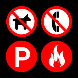 Not Allow and don't icons set great for any use. Vector EPS10. Stock Photo