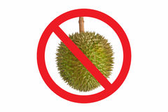 Not allow Durian symbol isolated on white background. Circle Prohibited red Sign on Durian photo. Smelly food is not allowed. Not allow Durian symbol isolated on royalty free stock photography