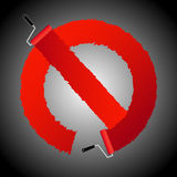 Not allow signl from paint roller brush Royalty Free Stock Photo