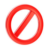 Not allowed forbidden sign isolated on white Royalty Free Stock Images