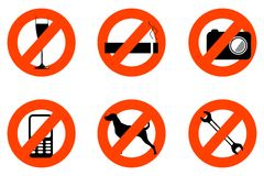 Not allowed icons Stock Photo
