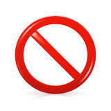 Not Allowed Sign. Isolated on the white Stock Images