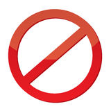Not Allowed Sign. Red Not Allowed Sign Illustrated Royalty Free Stock Images