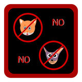 Not Allowed Sign, No dog and cat sign, No dog and cat symbol Royalty Free Stock Photo