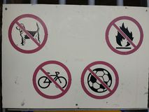 Not allowed traffic sign: dogs, bikes, balls, fire Stock Images