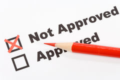 Not Approved. Text Not Approved close up shot for background royalty free stock photo