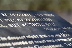 Not as I will but as thou wilt, Jesus words in Gethsemane olive orchard. Garden of Gethsemane, Jerusalem, Israel. royalty free stock photo
