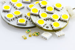 Not assigned single-chip and three-chip SMD. Also embedded ready on G4 bulbs Royalty Free Stock Photo