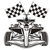 Not colored bolid with flags. Black and white formula one with two finish flags Stock Images