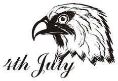 Not colored head of eagle with date. Black and white date 4th july with black and white head of eagle Stock Photos