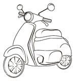 Not colored moped. Coloring one moped stand on a white background Royalty Free Stock Photo