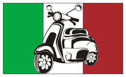 Not colored moped with flag Royalty Free Stock Image