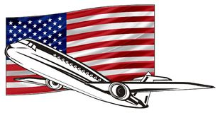 Not colored plane with flag Stock Image