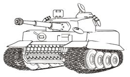 Coloring army tank. Not colored tank on a white background Royalty Free Stock Photography