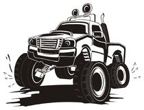 Not colored truck in dirt. Black and white monster truck in dirt with splashes Royalty Free Stock Images