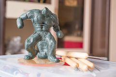 Not complete handmade figurine. stock photo