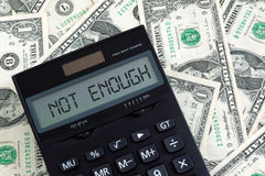 Not Enough. Calculator on dollars says not enough stock images