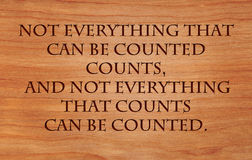 Not everything that can be counted counts stock image
