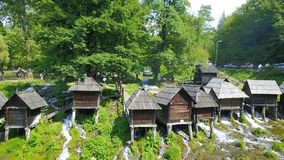 Watermills on the river Pliva. Not far from the town of Jajce, between large and small lake on Pliva, on the sedge barrier there are built watermills - Plivske Stock Images