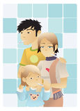 Not felling so well. A whole sick family mother father and child holding thermometers in the bathroom Royalty Free Stock Images