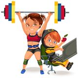 Not female professions, Strong muscular woman Weightlifting in sprt sports suit bikini and bra lifting barbell, a strong royalty free illustration