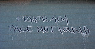 404 Not Found Error Message. Picture of 404 Not Found Error Message on a frosty car window royalty free stock image