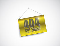 404 not found hanging banner illustration design. Over white Royalty Free Stock Image