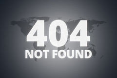 404 Not Found Message on Screen. 404 not found message on technological screen on dark world map background Stock Photo