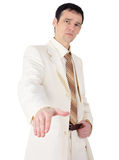 Not a friendly young man in a business suit Royalty Free Stock Photos