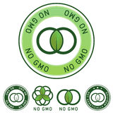 Not genetically modified (No GMO) food label. Not genetically modified and no GMO food label stickers for use on product packaging, websites, print materials stock illustration