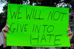 Not Give Into Hate. Sign at a candlelight vigil for the Orlando mass shooting Stock Images