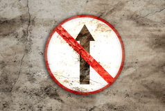 Not go straight rusty sign. Not go straight rusty and old sign Royalty Free Stock Image