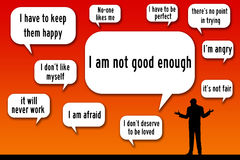 Not good enough. Thinking you`re not good enough and will never succeed Royalty Free Stock Photo