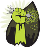 Not Green Industry Revolution. Fist squeezing a hand-shaped tree in the name of green industry revolution. Vector illustration - download the eps file stock illustration