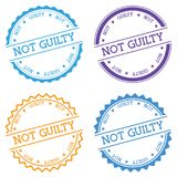 Not Guilty badge isolated on white background. Flat style round label with text. Circular emblem vector illustration Stock Photo