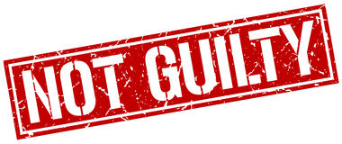 Not guilty square stamp. Not guilty square grunge stamp Stock Photo