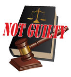 Not Guilty Verdict. Illustration of a design representing a not guilty verdict as the outcome of legal proceedings in a court of law Royalty Free Stock Photography