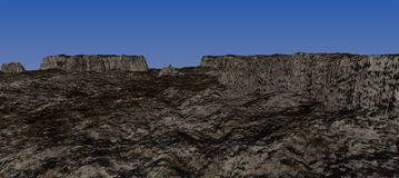 Not high earthy plateau with the blue sky. Stock Photos