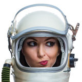 Not impressed woman. Not impressed young woman wearing space helmet isolated on white background. Emotional concept royalty free stock photos