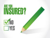 Not insured concept sign concept illustration. Design over a white background Stock Images