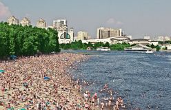 Crowded Beach In Ukraine Kiev royalty free stock image