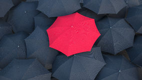 Not like many. Red umbrella above the rest stock illustration
