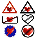 Not in love traffic signs, love over  icons. Break up, not together anymore Royalty Free Stock Image