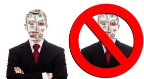 Not made of money. Businessman literally made of money and not made of money Royalty Free Stock Image