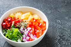 Not mixed pineapple salsa with chili, onion, mint Royalty Free Stock Images