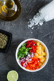 Not mixed pineapple salsa with chili, onion, mint. Top view Stock Photo