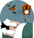 Not a morning person. Stressed woman lying in her bed early in the morning burying her head in pillows, trying to muffle a cuckoo clock, vector illustration, no stock illustration